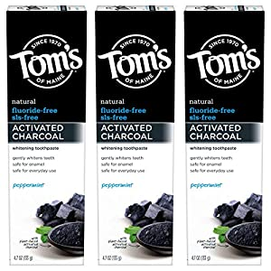NATURAL CAVITY PROTECTION: Contains 3 - 4.7-ounce tubes of Tom's of Maine Activated Charcoal Toothpaste in peppermint flavor; Toms activated charcoal toothpaste acts as a natural whitening toothpaste to fluoride free and gently remove surface stains ...