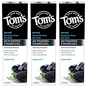 Tom s of Maine Fluoride-Free Activated Charcoal Whitening Toothpaste Peppermint 4.7 oz 3-Pack