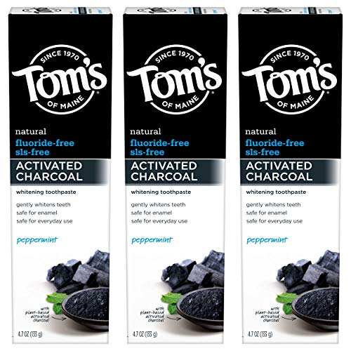 Tom's of Maine Activated Charcoal Toothpaste, Peppermint, Flouride-Free, 14.1 Ounce