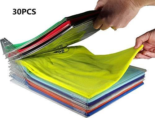 Nifogo Kleiderschrank Organizer Schubladen Organizer Schnelle Wäsche Organizer transparent Board Regal T-Shirt Faltbrett,30er Pack (30pack)