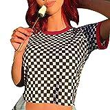 Women Checkerboard Print Loose Black and White Plaid T-Shirt Streetwear Crop Top (Black and White, Medium)