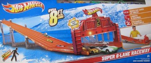 Hot Wheels SUPER 6 LANE RACEWAY 8+ Feet Long w 6 Cars, LIGHTS & SOUNDS (2011)