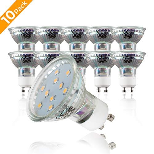 B.K.Licht 10er Set 3W LED Lampen – Energiesparende Leuchtmittel mit GU10 Fassung für Innenräume – Ersetzt 35W Halogen-Birne – Reflektorform – 250 Lumen – 3000K für warmweisses Licht