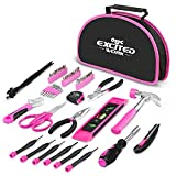 EXCITED WORK Ladies Tool Kit, 69-Piece Portable Pink Tool Set with Easy Carrying
