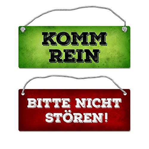 trendaffe - Bitte Nicht stören - Komm rein Wendeschild in Grün und Rot mit Kordel Schild