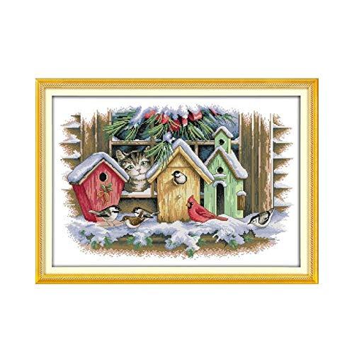 Kätzchen Tier Kreuzstich Kit, Fenster Vogelhaus Winter Vogel Landschaft DIY Handgemachte Stickerei Gemälde Kreuzstich-Malerei (Cross Stitch Fabric CT number : 14CT unprinted)