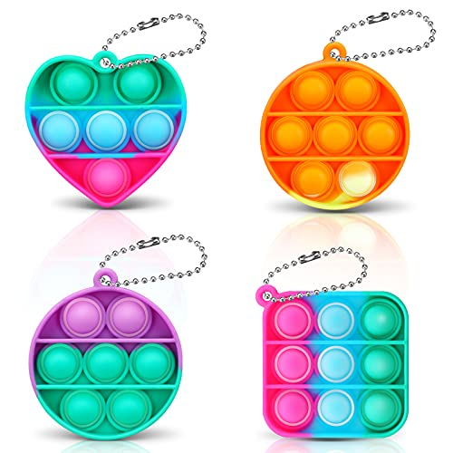 LIUMY Mini Push Pop Sensory Fidget Toy,Children's Day Gift, 4Pcs Bubble Keychain Decompression Toy,, Stress Relief Autism Toy, Extrusion Fidget Toy for Anxiety, Reusable & Washable