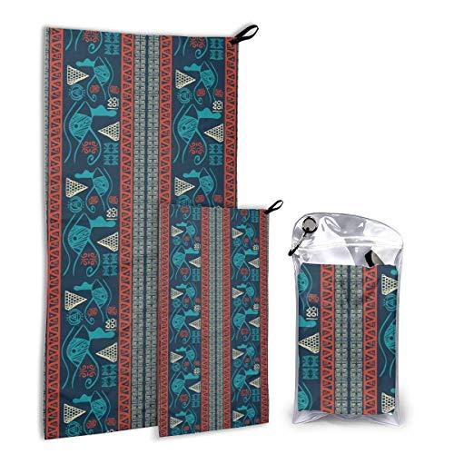 Lawenp Juego de Toallas de Microfibra para Exteriores, Paquete de 2, diseño étnico geométrico Tribal, Suaves, compactas, Ultra absorbentes, de Secado rápido, Toallas de Viaje W