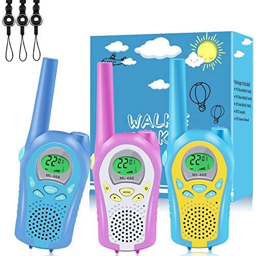 AceLife Walkie Talkie Kinder, Walkie Talkies 3er Set mit Schlüsselbänder, Walky Talky 3 Stück mit Taschenlampe 3KM Reichweite 8 Känale PMR446 Walki Talki Spielzeug Geschenk für Jungen Mädchen