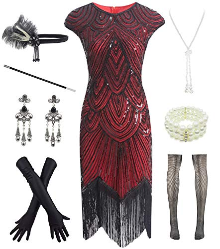 Letter Love Women 1920s Vintage Flapper Fringe Beaded Great Gatsby Party Dress, Black Red, X-Large