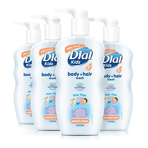 Dial Kids Body + Hair Wash, Peachy Clean, 24 Ounce (Pack of 4)