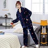 Pijamas Mujer Camisón Otoño Invierno Cálido Franela Pijamas Gruesos con Capucha Coral Fleece Conjuntos De Pijamas De Mujer Pijamas De Pareja Hombres Ropa De Dormir Ropa De Casa M Bluepajamas