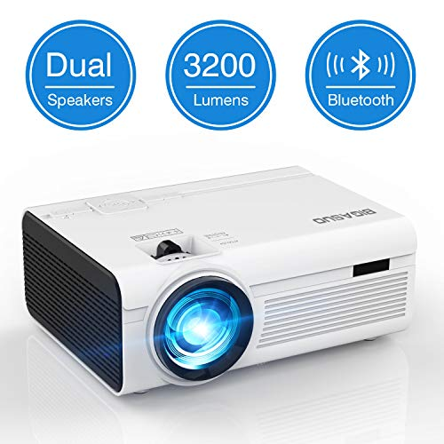 Mini Bluetooth Beamer Heimkino Projektor, BIGASUO LED Video Handy Beamer HD 2400 Lumen Smartphone Projector mit 170'' Display, USB, HDMI, SD, AV, VGA, Audio…