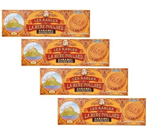 La Mère Poulard 1888 Biscuits au Beurre Pur Salé et Caramel - 4 x 125 Grammes