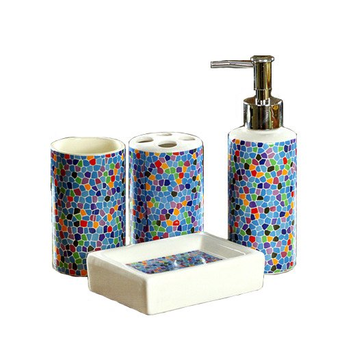 DecentGadget - Set di 4 accessori da bagno in ceramica Stelish per spazzolino da denti, dispenser per lozioni, portasapone