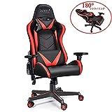 ゲーミングチェア 180°リクライニング パソコンチェア オフィスチェア ゲームチェア 3Dアームレスト 腰痛対策 ロッキング ハイバック ランバーサポート デスクチェア 椅子 いい座り心地 仮寝用 ブラック&レッド