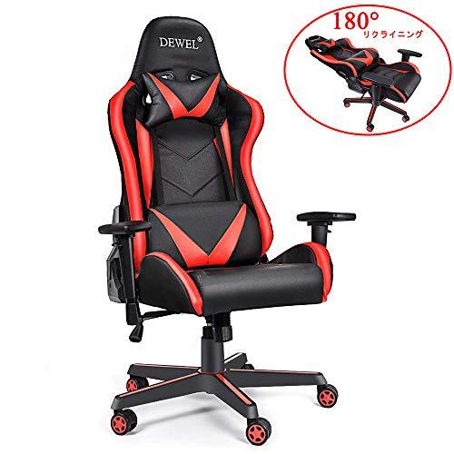 ゲーミングチェア オフィスチェア デスクチェア 180°リクライニング パソコンチェア ゲームチェア 椅子 ハイバック 3Dアームレスト 腰痛対策 ひじ掛け付き 高さ調整機能 ロッキング ランバーサポート PUレザー ゲーム用 仮寝用