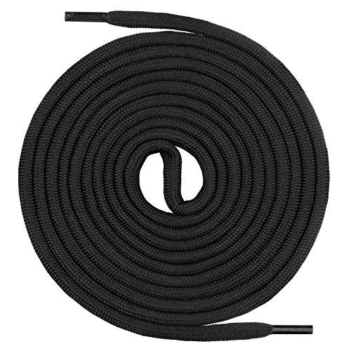 Mount Swiss runde Schnürsenkel für Wanderschuhe, Trekkingschuhe und Arbeitsschuhe - extra reißfest - ø 5 mm Farbe Schwarz Länge 210cm