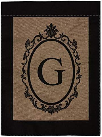pingpi G Monogram Double Sided Burlap Garden Flag 12 5 W x 18 H product image