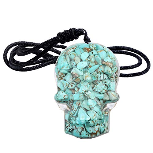 Yatming Hand Carved Crystal Skull Pendant Necklace for Men and Women, Howlite Turquoise Chip Stone Pendant Jewelry with Adjustable Rope