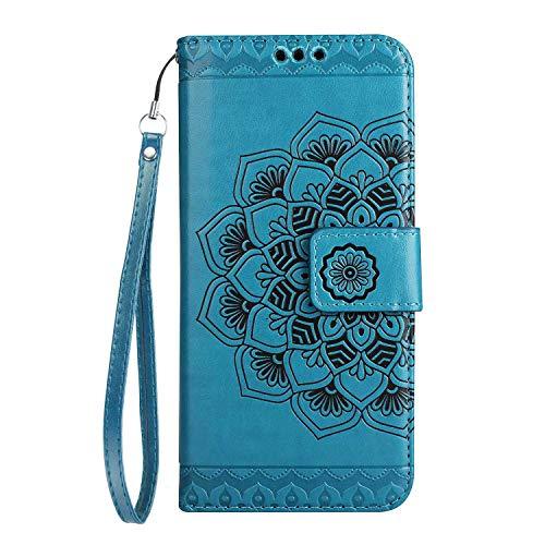 Galaxy J5 2016 Hülle, SONWO Mandala Blumen Muster PU Leder Wallet Schutzhülle mit Karte Schlitz und Magnetic Closure für Samsung Galaxy J5 2016, Blau