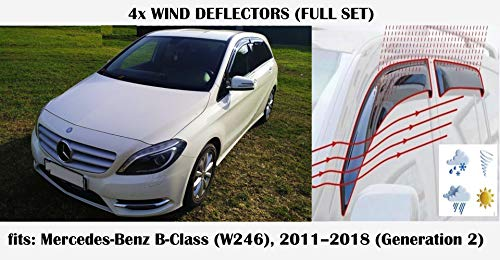 Mrp Windabweiser, kompatibel mit Mercedes Benz B-Klasse B-Klasse W246, 2011, 2012, 2013, 2014, 2015, 2016, 2017, 2018, Acrylglas, Seitenblenden PMMA