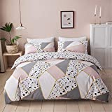 VClife Pink White Bedding Sets Queen 100% Cotton Triangle Marble Printed Bedding Collections, Reversible Hypoallergenic 3 pcs Duvet Cover Sets for All Seasons, Zipper Closure, 4 Corner Ties, Easy Care