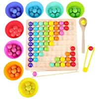 Montessori Spielzeug, GUBOOM Holz Clip Beads Brettspiel, Montessori Brettspiel, Wooden Puzzle, Regenbogen Puzzle, Rainbow Bead Game Early Education Puzzle Brettspiel