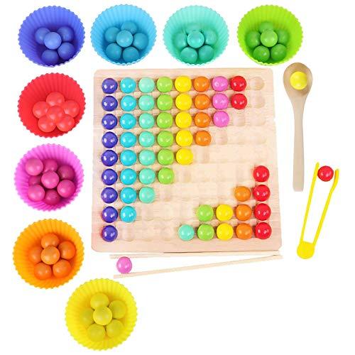 Montessori Spielzeug, GUBOOM Holz Clip Beads Brettspiel, Montessori Brettspiel,...