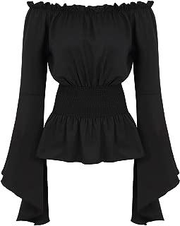 Women Renaissance Medieval Blouse Off Shoulder Smocked Waist Pirate Shirt Tops