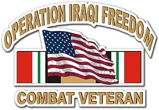 "Military Vet Shop US Army Operation Iraqi Freedom Combat Veteran American Flag Window Bumper Sticker Decal 3.8"""