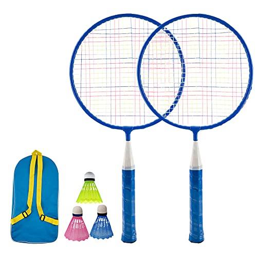 KanCai Zestaw do badmintona dla dzieci zabawki do badmintona dla dzieci z 2 rakietami do badmintona i 3 lotki, w zestawie torba do przenoszenia