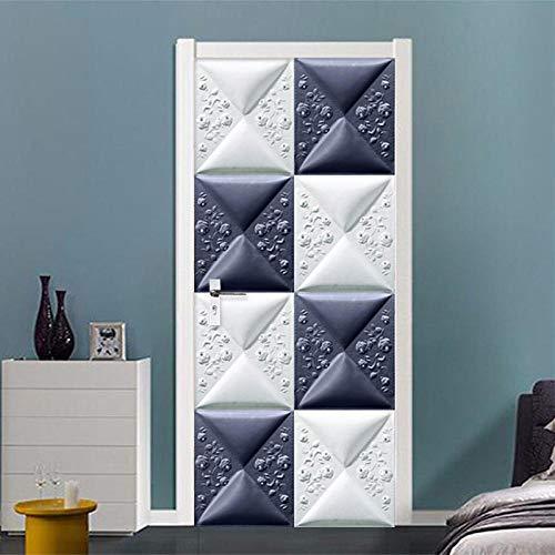 Vinilos decorativos adhesivos para puertas imitación cerámica azulejo autoadhesivo cartel de puerta autoadhesivo, imagen de pared autoadhesiva DIY, papel tapiz impermeable de PVC-85cm(W)*215cm(H)