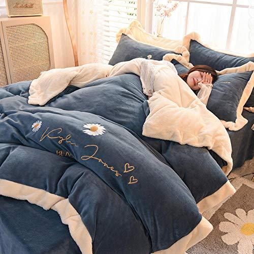 Shinon teddy bear bedding single grey,Teddy Fleece Duvet Cover with Pillow Case Thermal Fluffy Warm Soft Bedding Set-S_2.0m (6.6 feet) bed