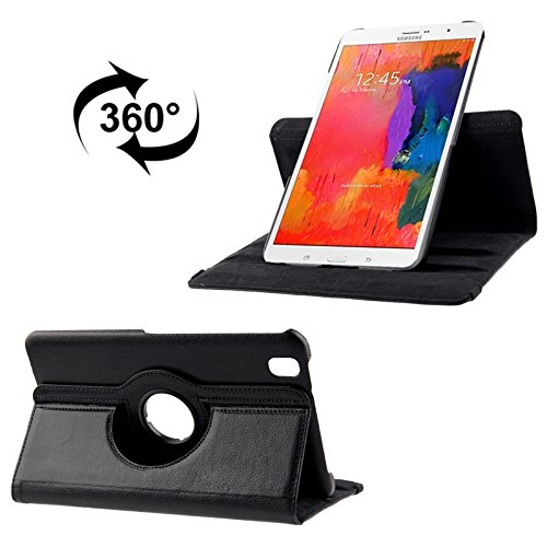 Tablet Case Compatible with Samsung Galaxy Tab Pro 8.4 / T320 360 Degree Rotatable Litchi Texture Leather Case with 2-Angle Viewing Holder (Color : Black)
