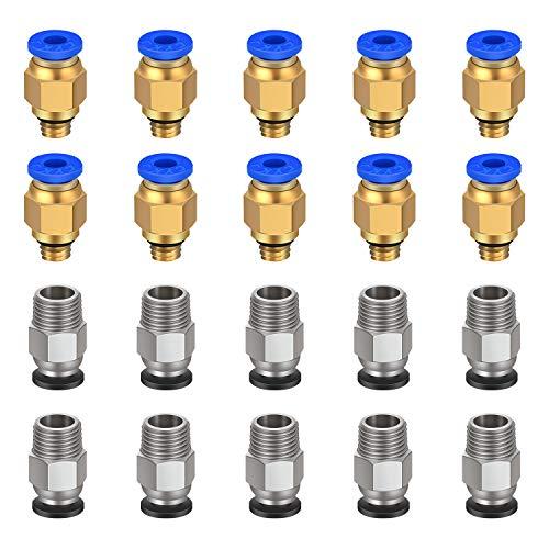 Raccordo pneumatico TUZUK PC4-M6 Push to Connect + PC4-M10 Dritto raccordo rapido per stampante 3D Bowden Extruder (confezione da 20 pezzi)