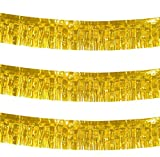 10 Feet Long Roll Metallic Fringe Garland (Set of 3) Gold Tassel Foil Banner - Party Supplies for Parade Floats, Fiesta Backdrop, Patriotic Decorations, Wedding, Birthday (Gold)