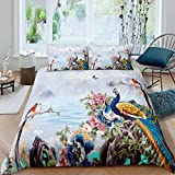 Erosebridal Kids Peacock Comforter Cover Butterfly Birds Feather Pattern Quilt Cover Flowers Colorful Bedding Set Soft Microfiber Bed Decor Queen Size 1 Duvet Cover with 2 Pillow Cases