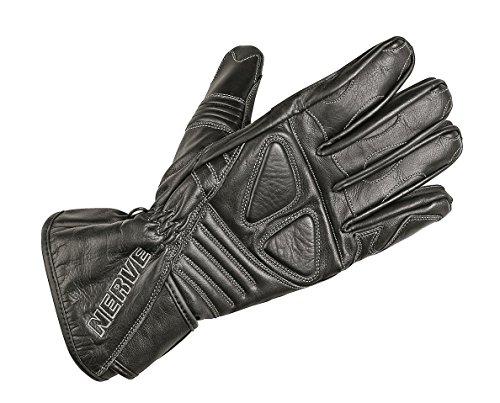 Nerve Guantes de Moto de Cuero Dark Leather, Negro, XS