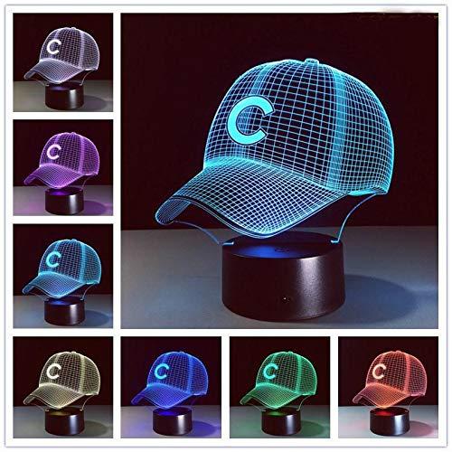 Sombrero 3D gorra de béisbol C casco LED luces club deportivo logo ...