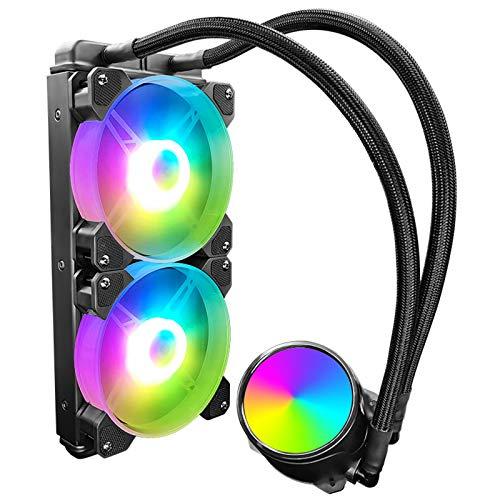Raburt RGB Ventilador de refrigeración de agua Enfriador CPU Kit de doble vaciado integrado Carcasa del ordenador Ventilador del enfriador
