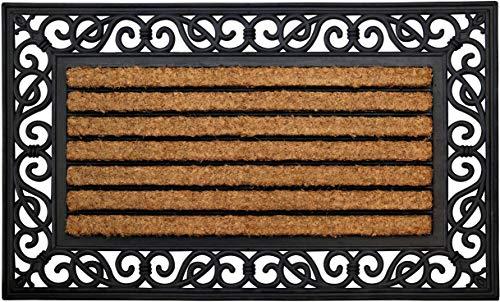 ID Mat Fußmatten Teppich, natürliche Kokosfasern auf Gummirahmen, beige, 45 x 75 cm