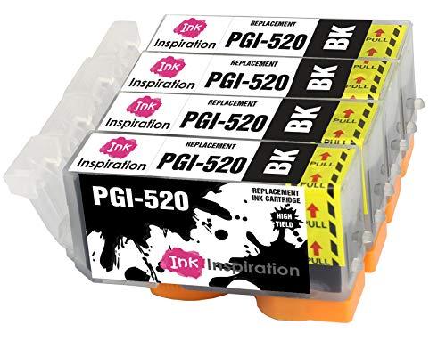 INK INSPIRATION Reemplazo para Canon PGI-520 PGI-520BK Negro Multipack 4 Cartuchos de Tinta Compatible con Canon Pixma MP560 MP640 MP630 MP620 iP4600 iP4700 iP3600 MP540 MP990 MP980 MP550 MX870 MX860
