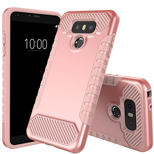 LG G6 Case, JDB Heavy Duty Defender Shock Absorption Impact Resistant Protection Hybrid with Flexible Inner Protection and Reinforced Hard Bumper Frame Case for LG G6 (2017) - Rose Gold