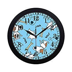 INTERESTPRINT Woof Puppy Elegant Black Wall Clock, Lightweight Clock