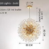 SSY-YU ペンダントライト シャンデリア 四角形/円形の水晶シャンデリアのモダンな創造的なデザインランプゴールド/クロムLED照明のための照明のための照明 LED対応 引掛シーリング式 インダストリアル (Emitting Color : Cold White, Lampshade Color : Gold Dia80cm)