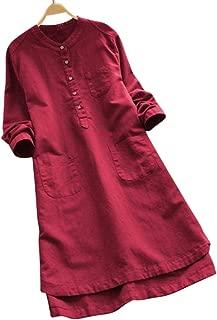Qiyun Women Summer Long Shirt Loose Style Button Stand Collar Long Sleeves Asymmetric Hem Shirt