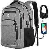marcello Laptop Rucksäcke mit USB-Ladeanschluss Herren Damen für Arbeit Schule Uni Schulrucksack für Jungen Teenager mit Laptopfach und Anti Diebstahl Tasche (15,6 Zoll Grau)