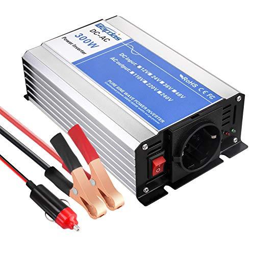 Bapdas 300W Reiner Sinus Wechselrichter/Spannungswandler DC 12 V auf AC 230 V, 220V inkl. mit USB Anschlüsse Zigarettenanzünder Anschlüssen
