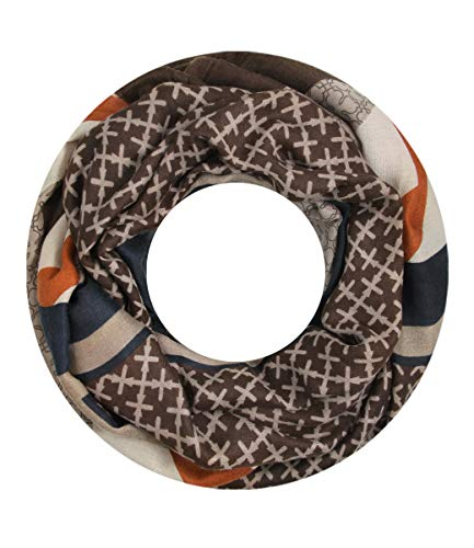 Majea Loop Schal Damen Schlauchschal - viele Farben - modischer Loopschal - Halstücher (braun 1)